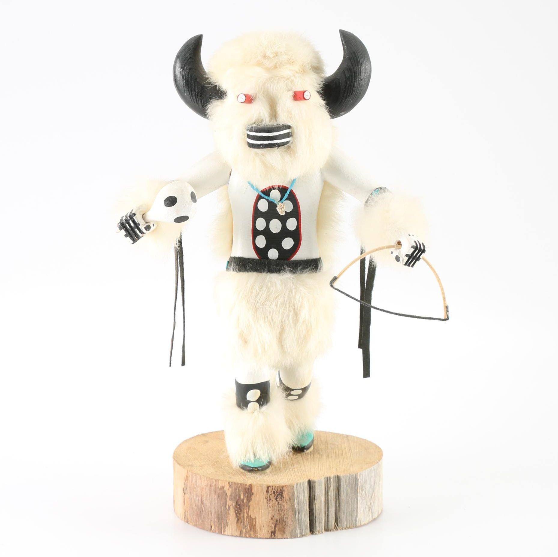Signed C. Lee Native American Buffalo Kachina Doll