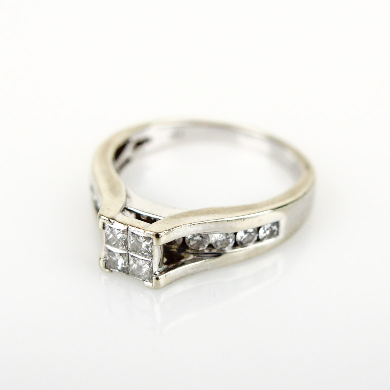 14K Yellow Gold and 1.00 CTW Diamond Cathedral Ring
