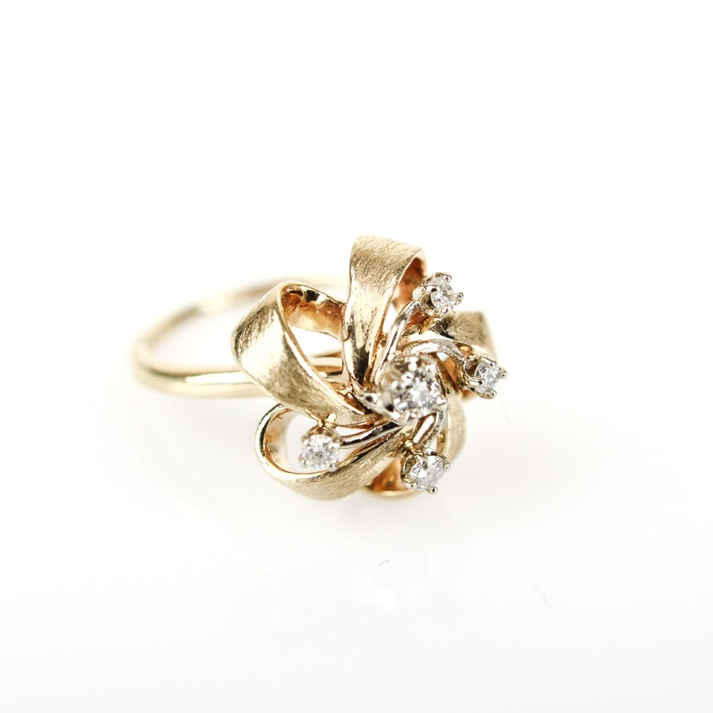 Vintage 14K Yellow Gold and Diamond Bow Ring