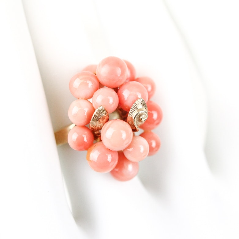 14K Yellow Gold and Coral Cluster Ring