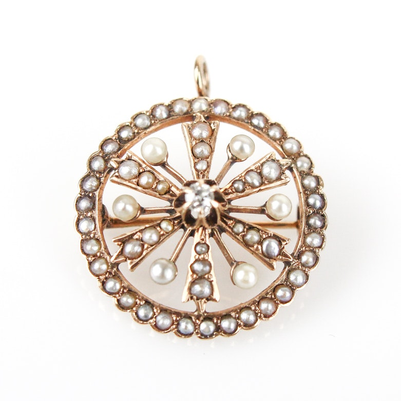 Antique 10K Yellow Gold, Old Mine Cut Diamond, and Seed Pearl Pendant Brooch
