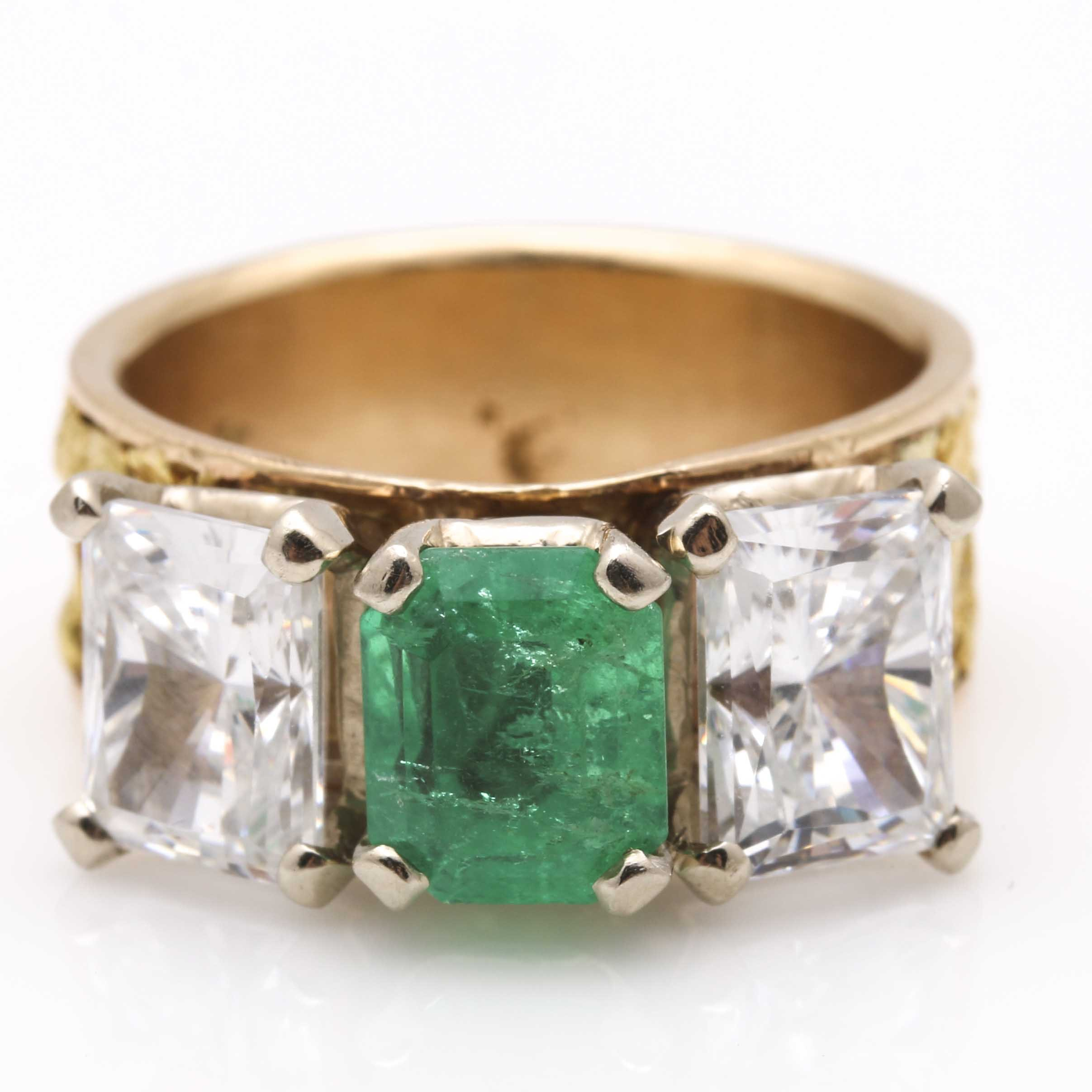 14K Yellow Gold Emerald and Cubic Zirconia Ring