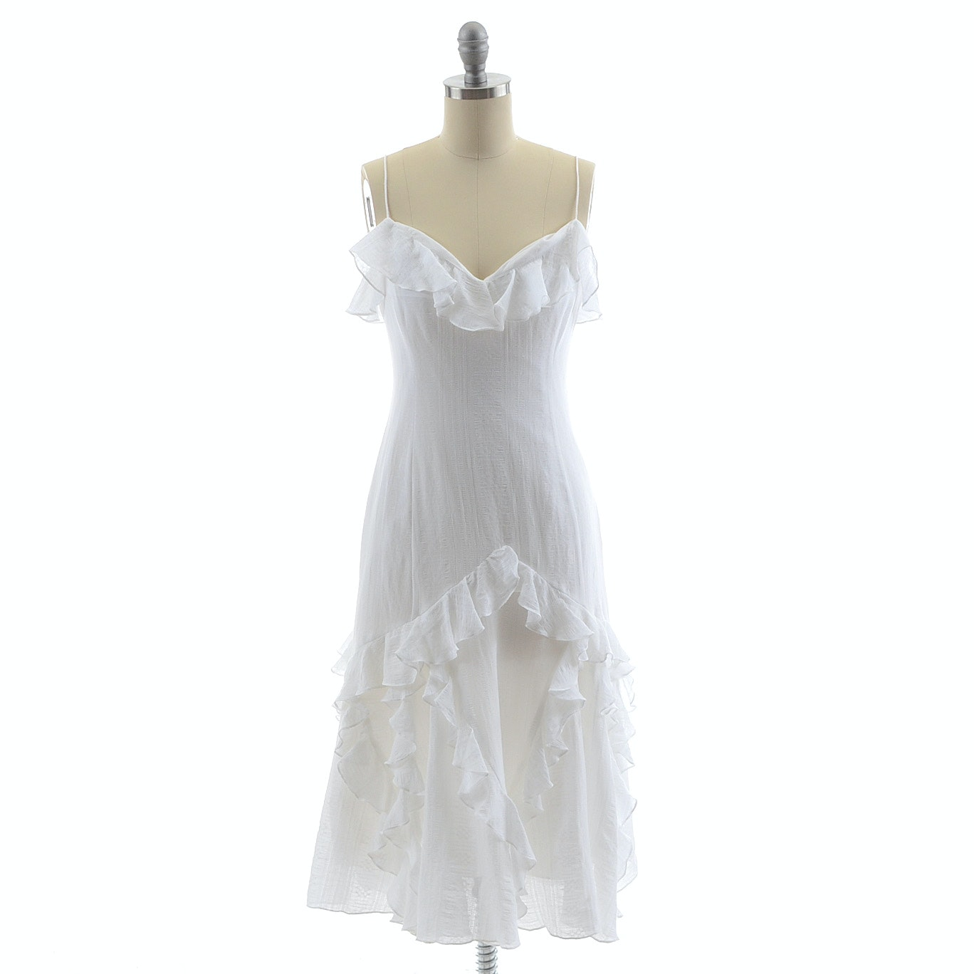 Ralph Lauren White Cotton Sleeveless Dress with Ruffles