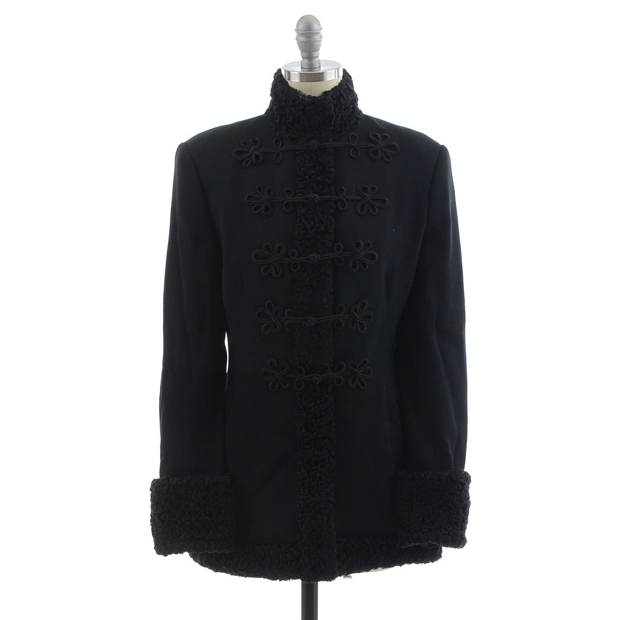 Ralph Lauren Black Wool Coat Trimmed in Persian Lamb Fur