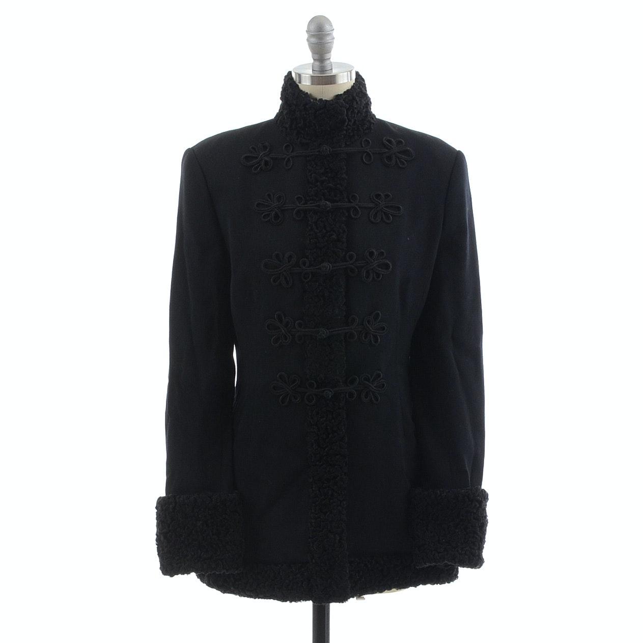 Ralph Lauren Black Wool Coat Trimmed in Persian Lamb Fur