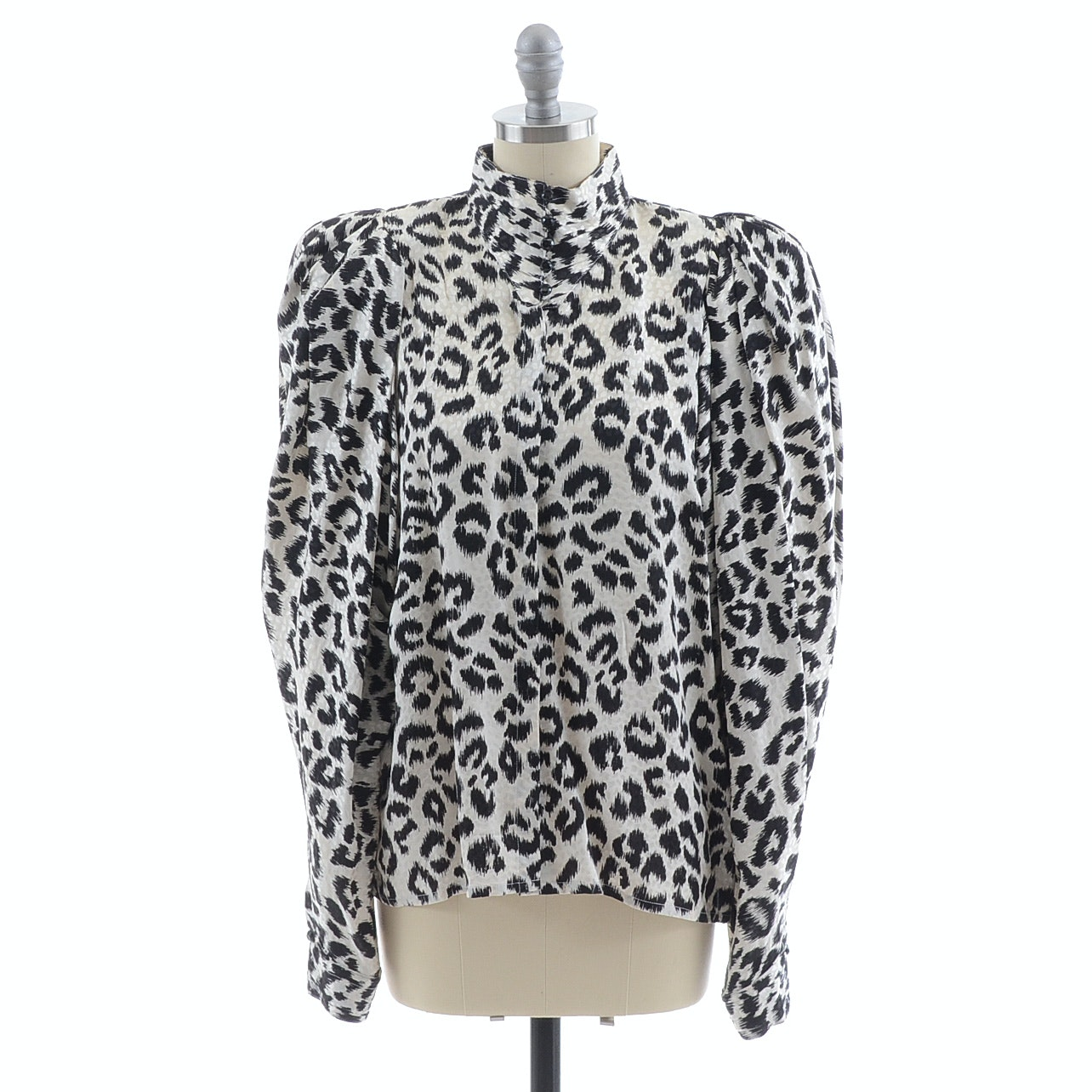 1980s Helga of Vail Black and White Leopard Silk Print Blouse