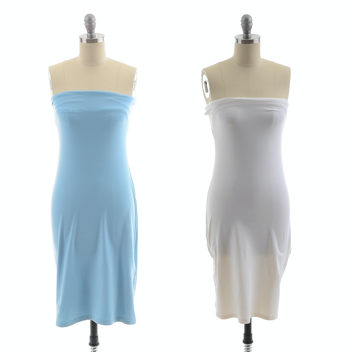 Two Susana Monaco Strapless Supplex Blend Body Con Dresses in White and Powder Blue