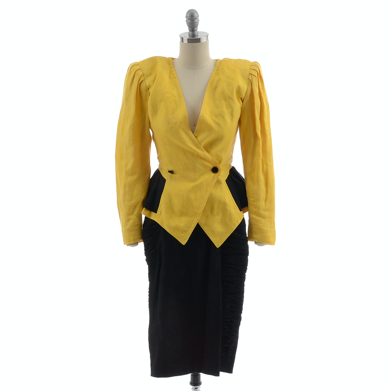 1980s Emanuel Ungaro Paralle of Paris Yellow and Black Brocade Linen and Cotton Blend Peplum Suit Jacket with Ruched Skirt