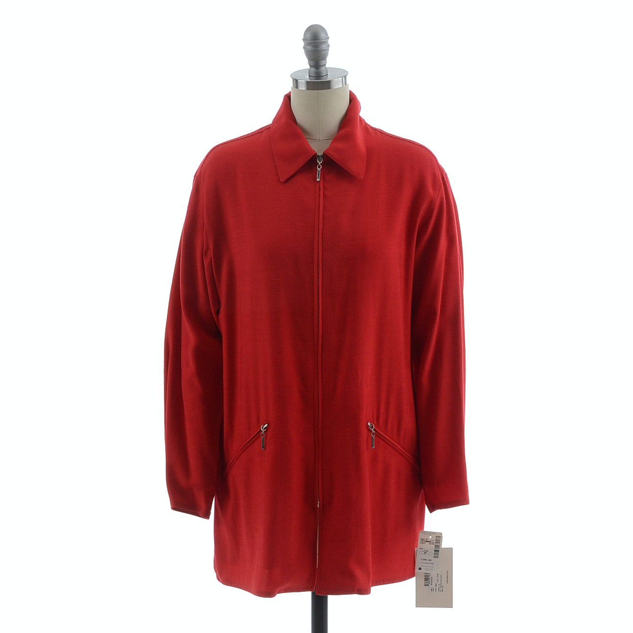 1980s Emanuel Ungaro Crimson Red Zipper Front Jacket