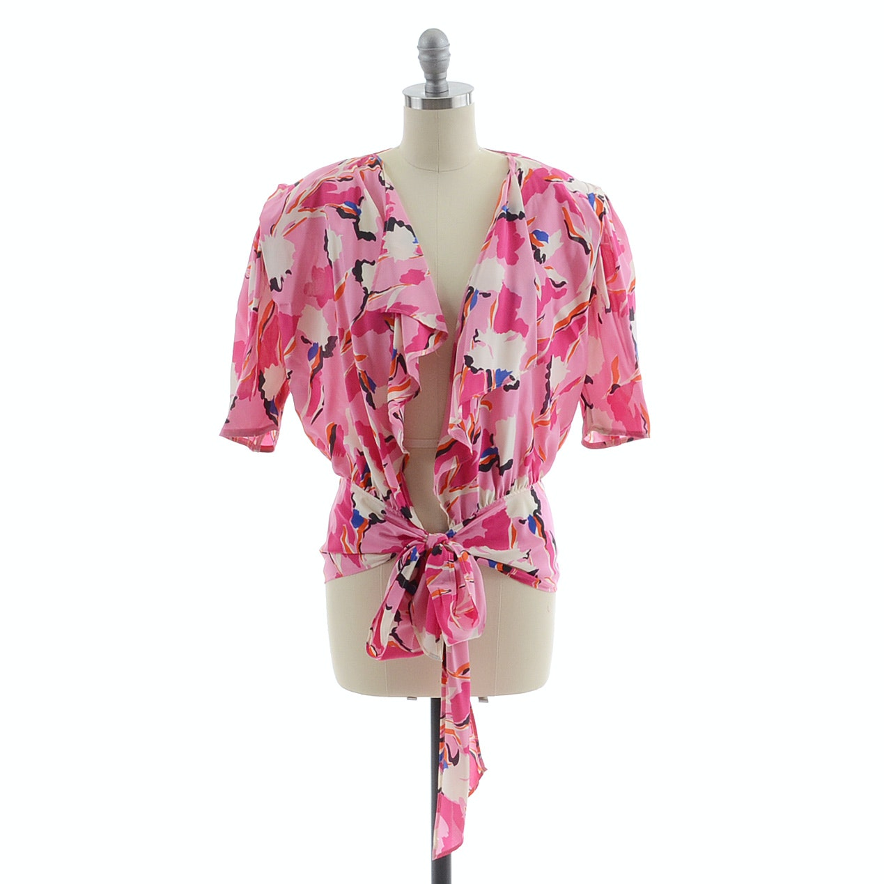 1980s Emanuel Ungaro of Paris Solo Donna Bold Multi-Color Floral Silk Print Open Front Blouse with Tie Bow