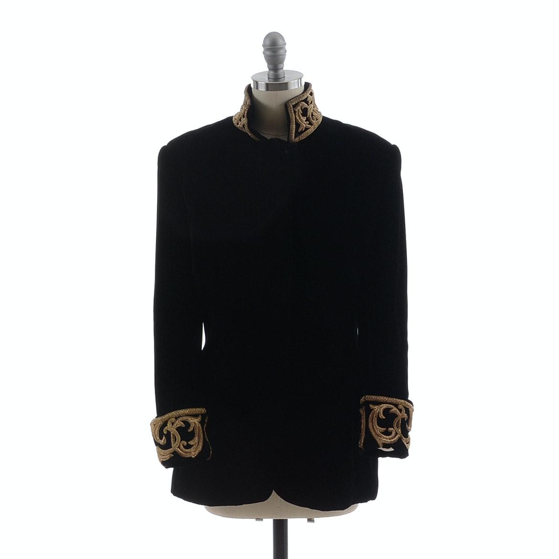 Ralph Lauren Black Velvet Dress Jacket Embroidered with Gold Metallic Scrolls