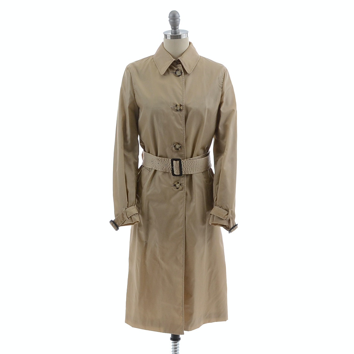 Prada Impermeable Nylon Trench in Corda with Tie Belt and Leather Buckles, New With Tags