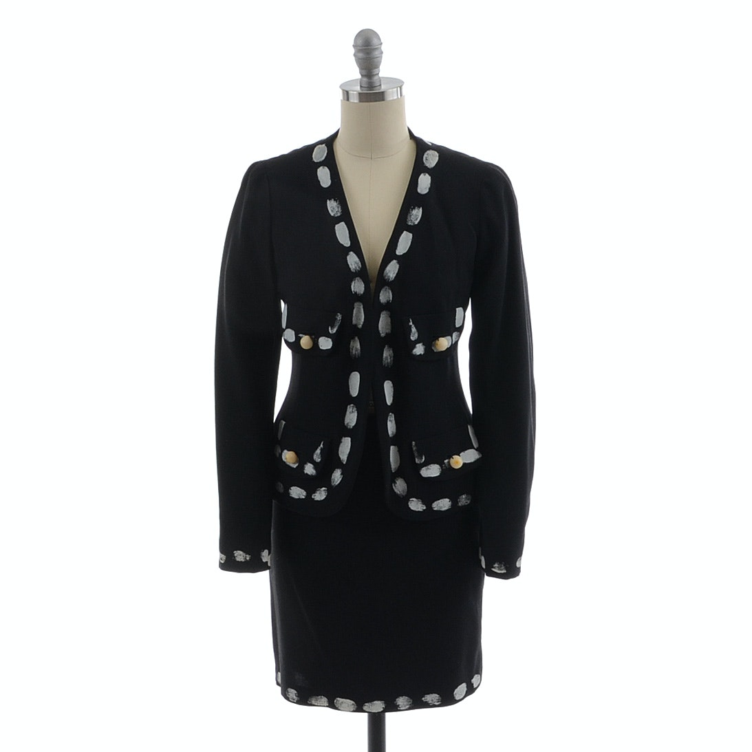 1980s Moschino Couture! Black and White Fingerprint Suit with Blazer and Skirt in a Virgin Wool and Silk Blend