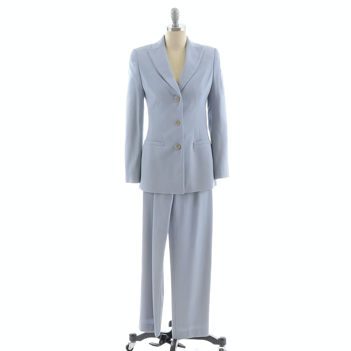 Circa 1990s Giorgio Armani Pant Suit in a Pale Blue Grey Pure Wool