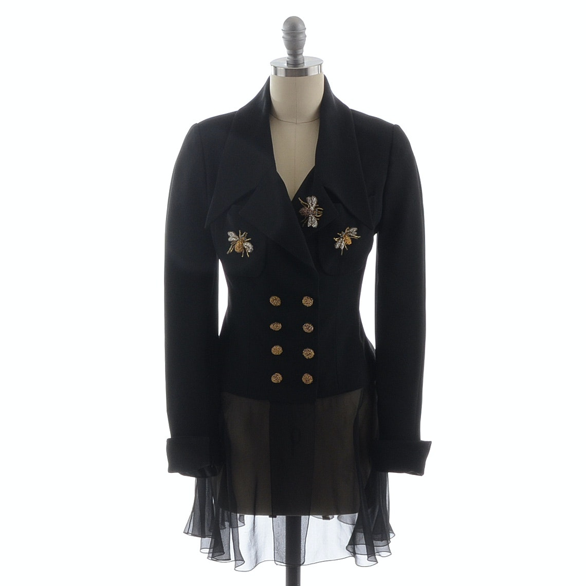Karl Lagerfeld Double Breasted Black Blazer with Sequined Bee Applique and Silk Chiffon Hemline