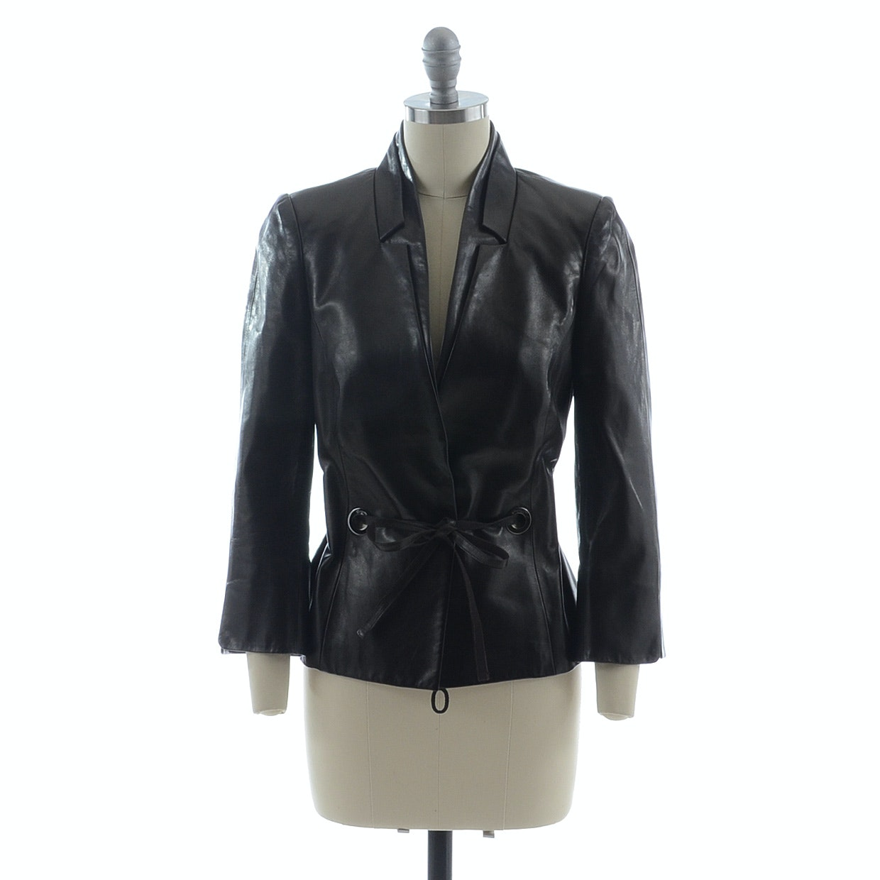 Salvatore Ferragamo Deep Brown Lambskin Leather Jacket with Grommets and Leather Tie Belt Trimmed in Grosgrain Ribbon Susan Bought in Rome While Vacationing