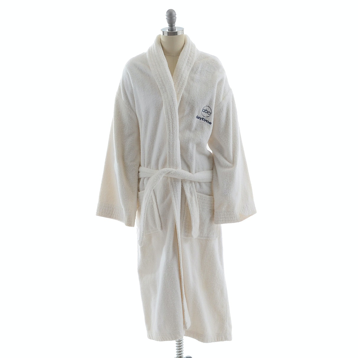 """ABC Daytime"" Embroidered White Terry Cloth Robe"