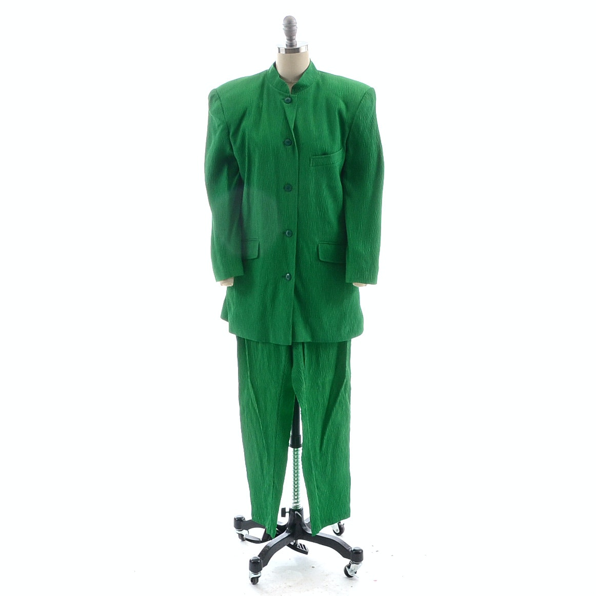 1980s Kenzo of Paris Crystal Pleat Lime Green Silk Pant Suit
