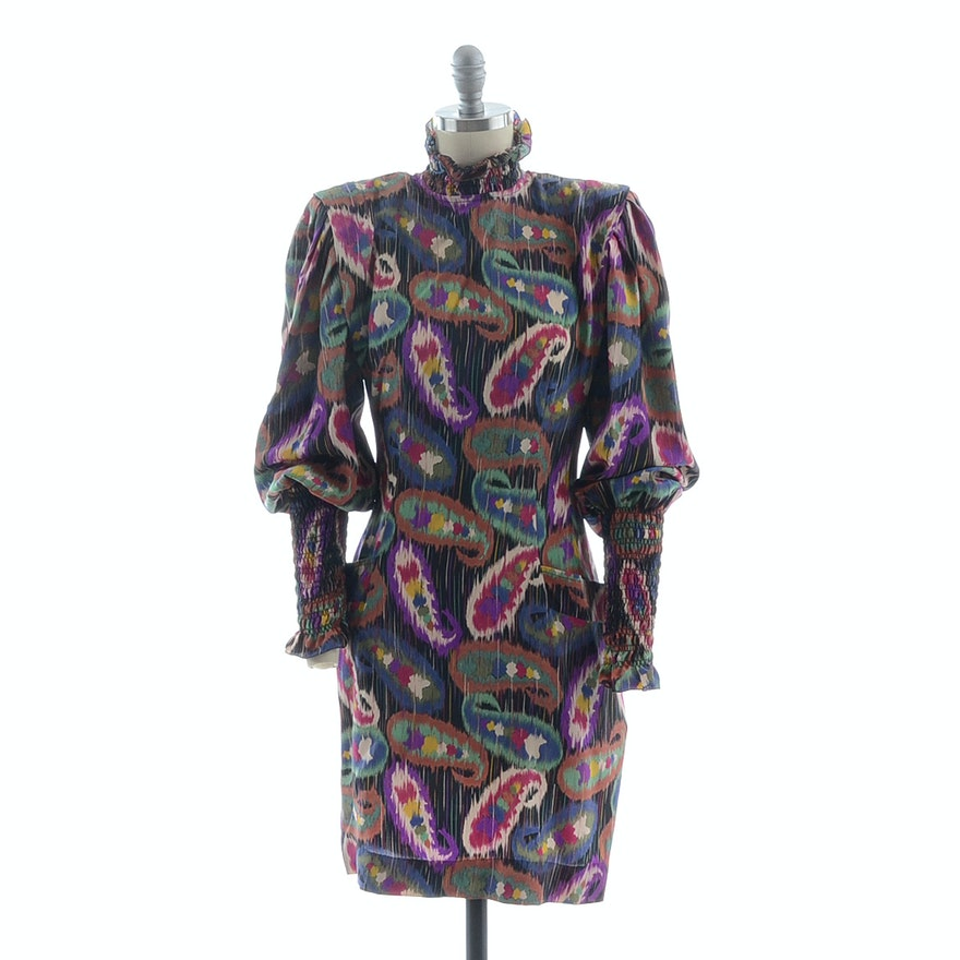 1980s Emanuel Ungaro Solo Donna of Paris Multi-Color Abstract Silk Chiffon Shirred Turtleneck Dress Susan Wore Portraying Her Iconic Character Erica Kane