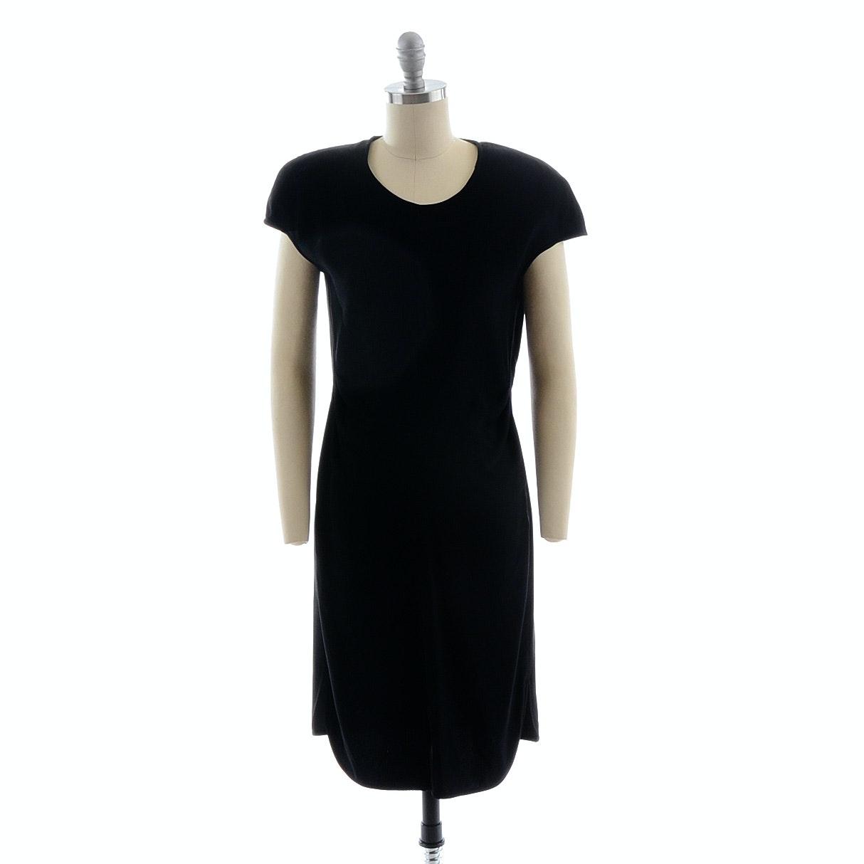 Circa 1990s Giorgio Armani Le Collezioni Black Jersey Crepe Cocktail Dress