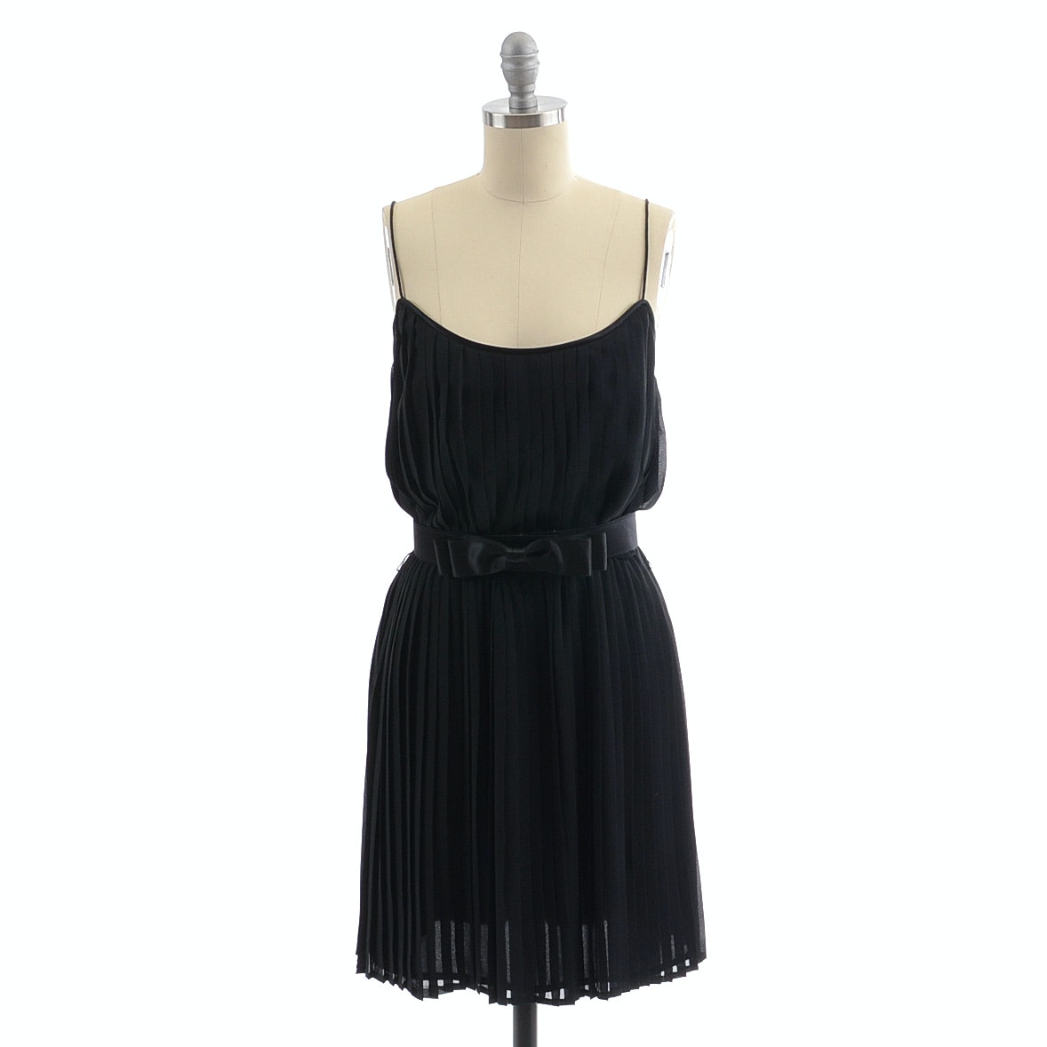 Ann Taylor Pleated Black Silk Chiffon Sleeveless Cocktail Dress Trimmed in Satin with Matching Belt