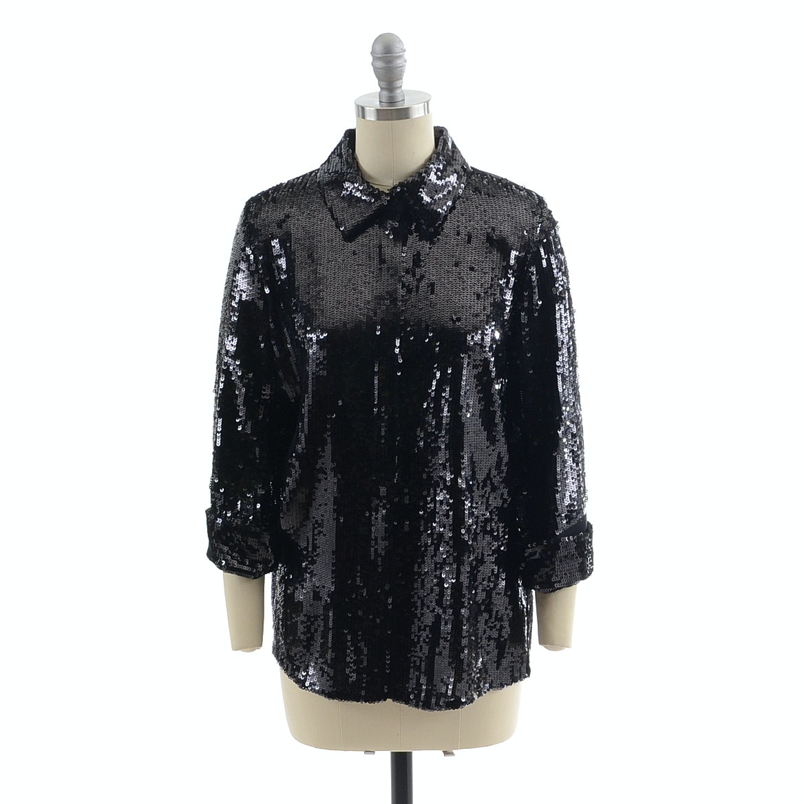 Alice + Olivia Black Sequined Button Front Blouse Accented with Black Silk Chiffon