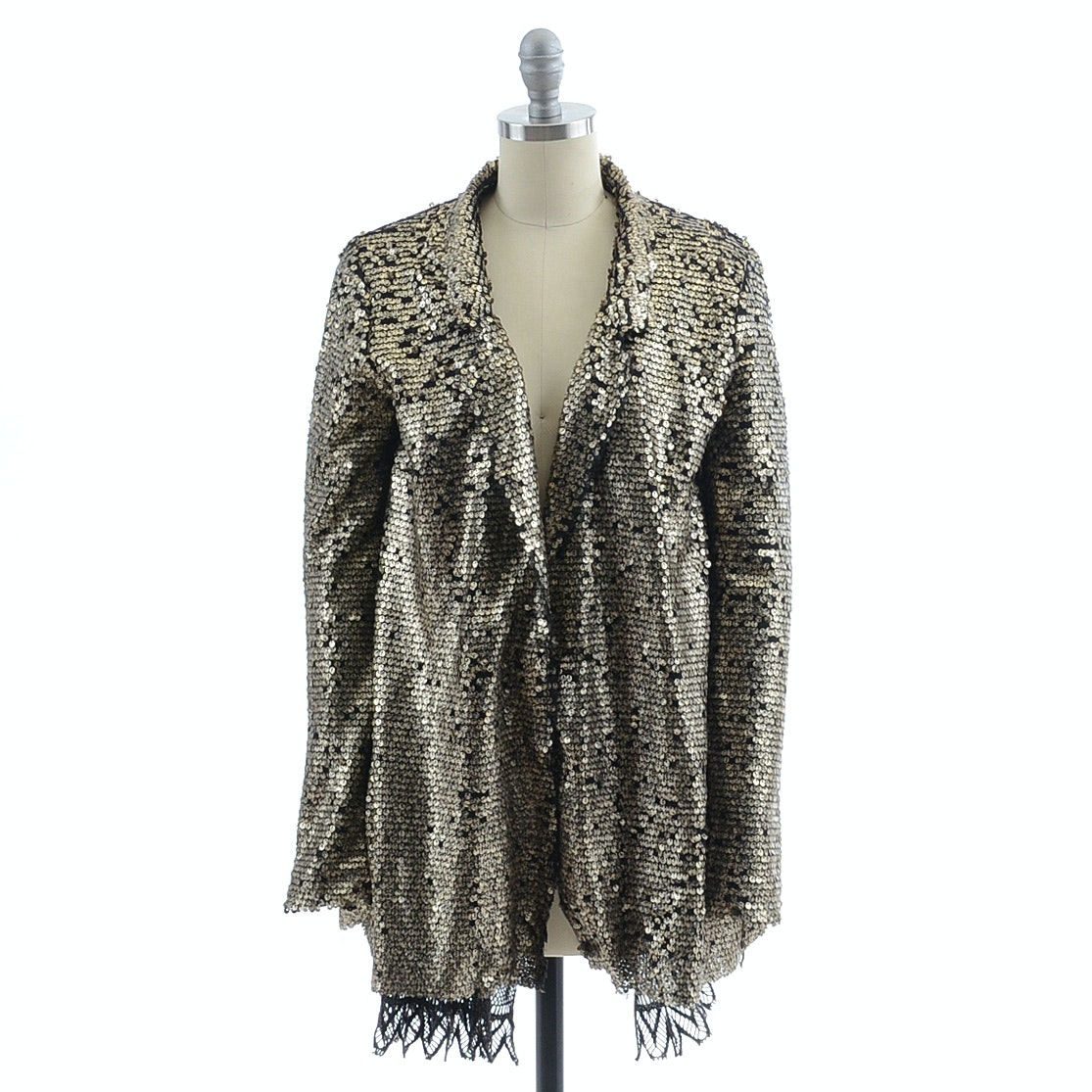 Free People Embellished Mesh and Crochet Lace Jacket with Reflective Discs