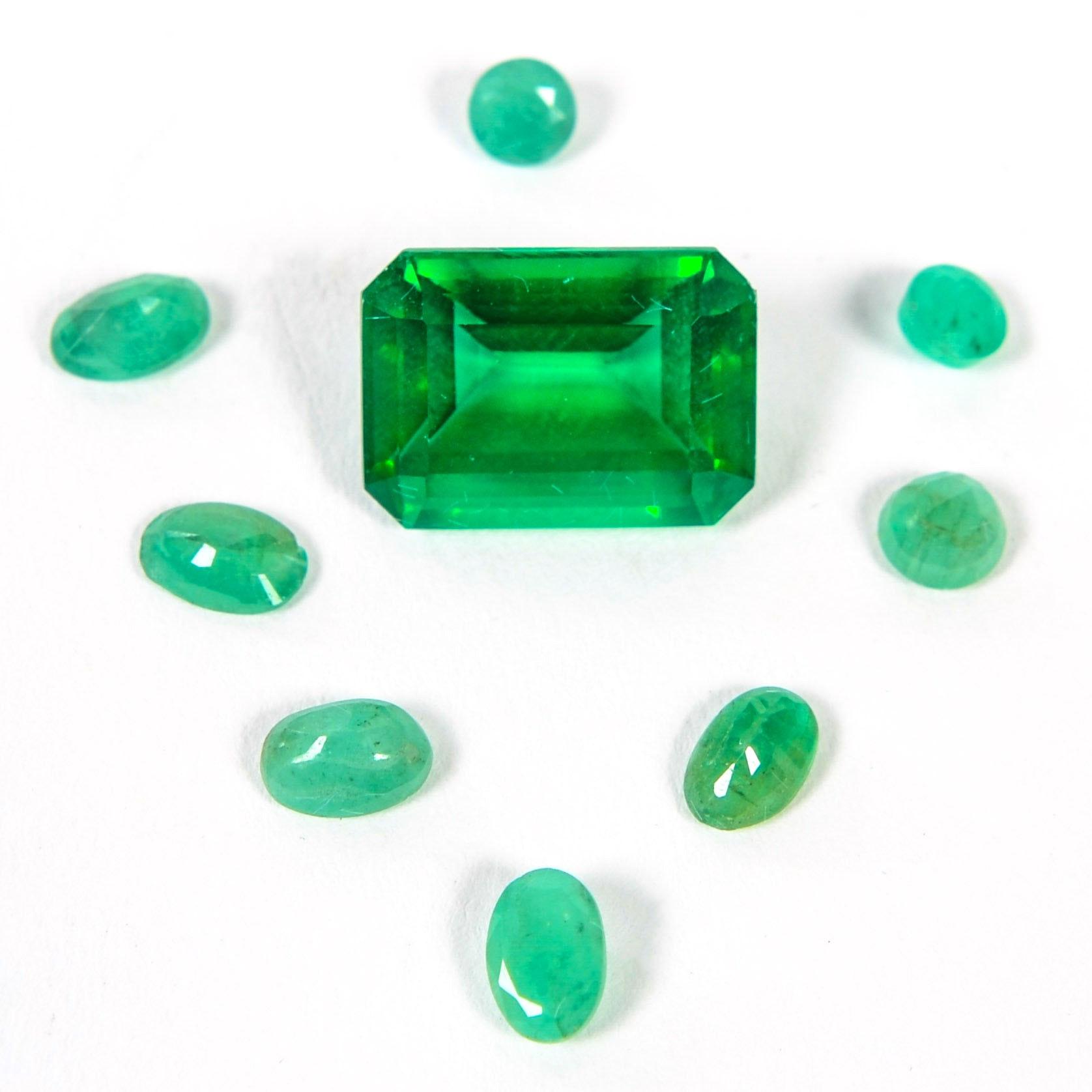 Collection of Loose Grossular Garnet and Emerald Gemstones