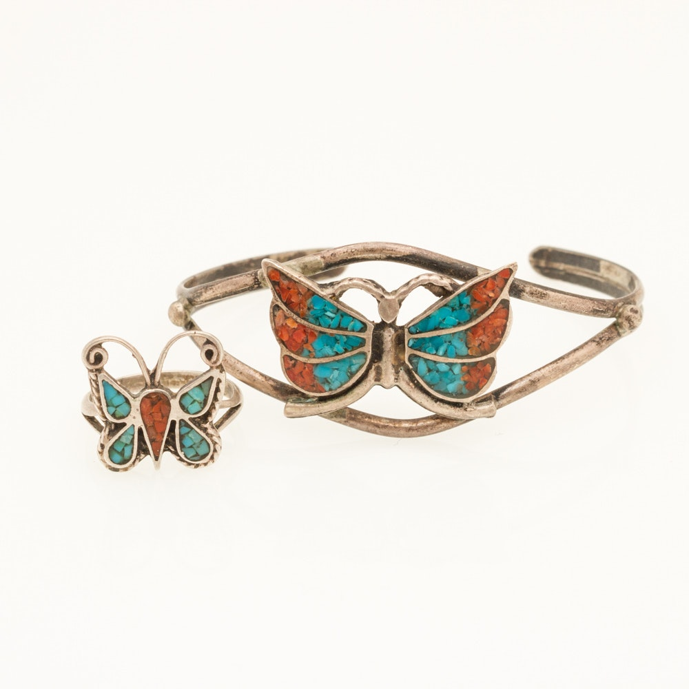 Sterling Jewelry with Turquoise and Coral Butterflies