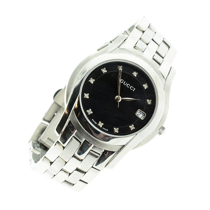 Unisex Gucci Watch in Stainless Steel with Diamond Dial
