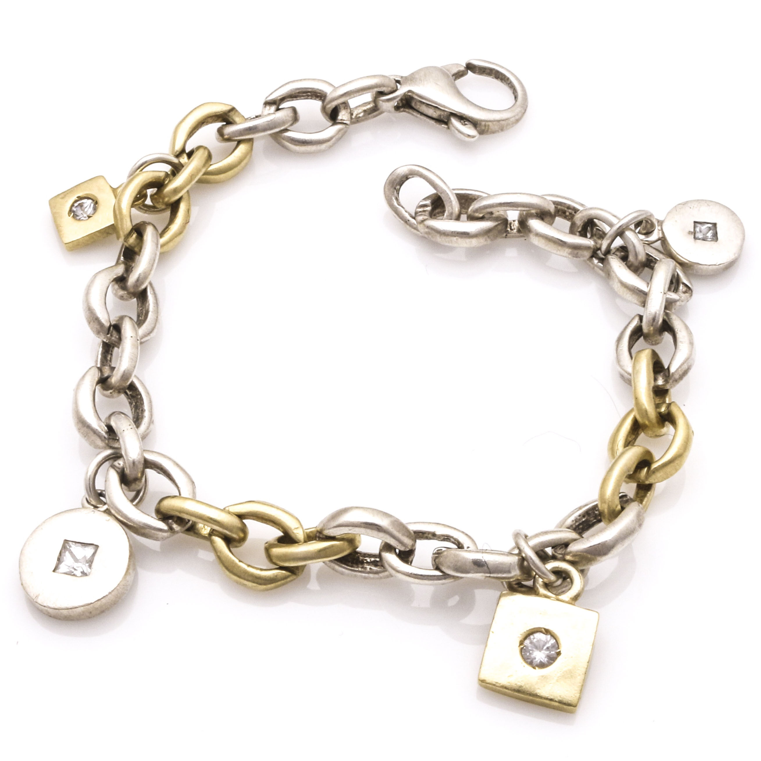 Sterling and 18K Yellow Gold and White Sapphire Charm Bracelet