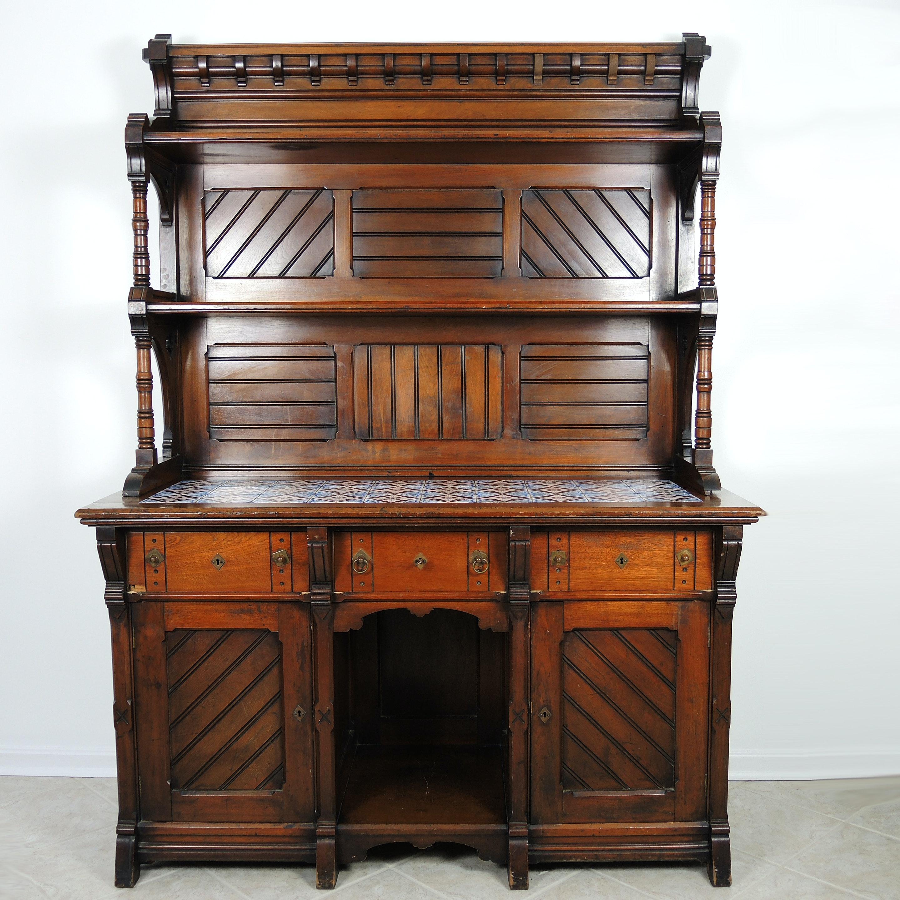 Late 19th Century Eastlake Tile Top Sideboard Cabinet in Walnut