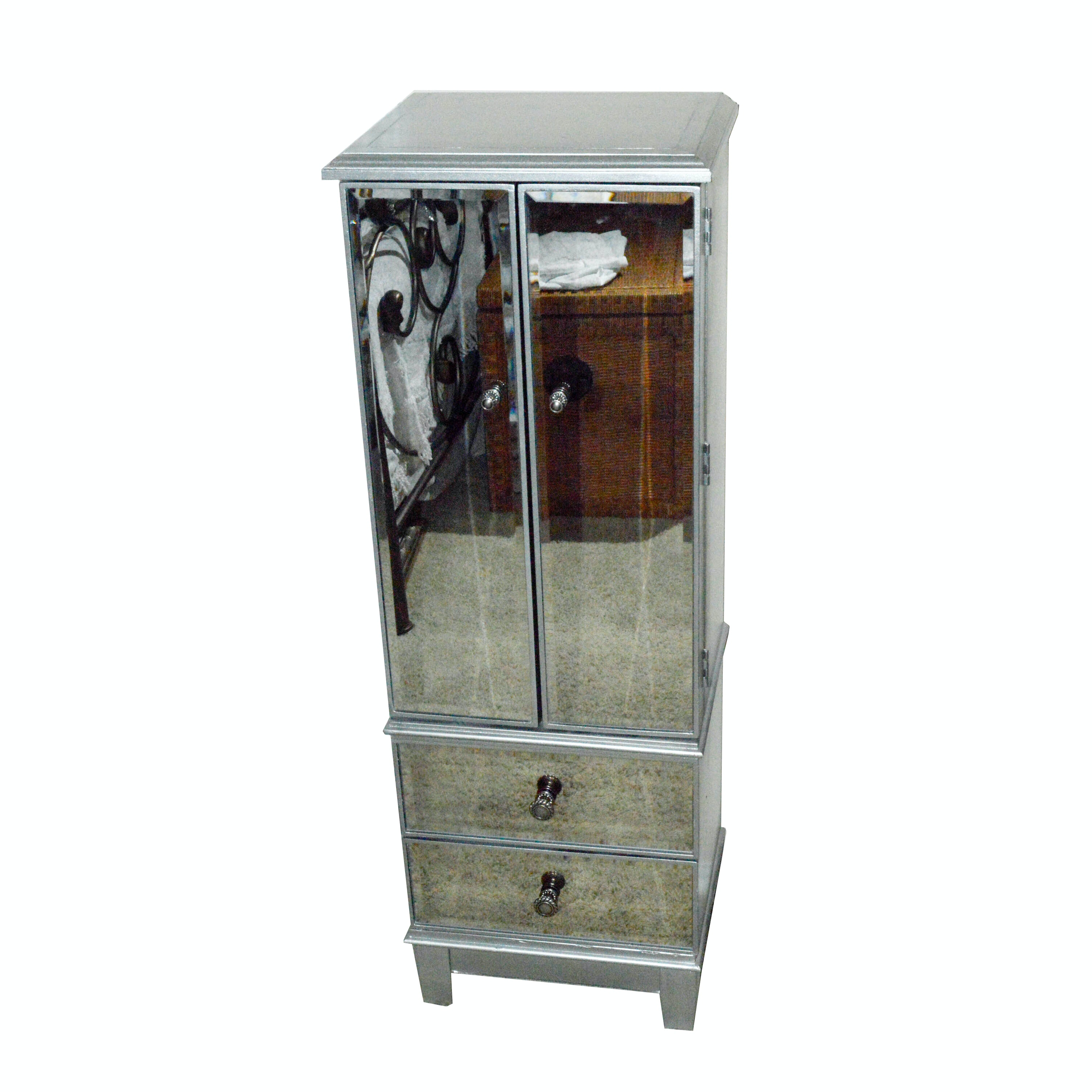 Silver Painted and Mirrored Jewelry Armoire