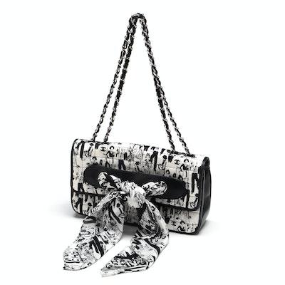 9a91bd5b1ef6 Chanel Black and White Silk Coco Mademoiselle Print Lambskin Leather Flapbag