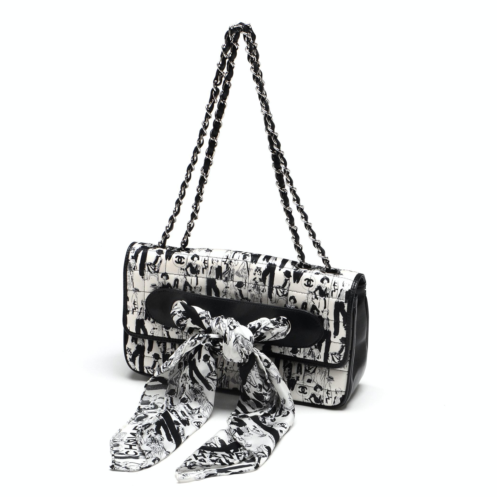 Chanel Black and White Silk Coco Mademoiselle Print Lambskin Leather Flapbag