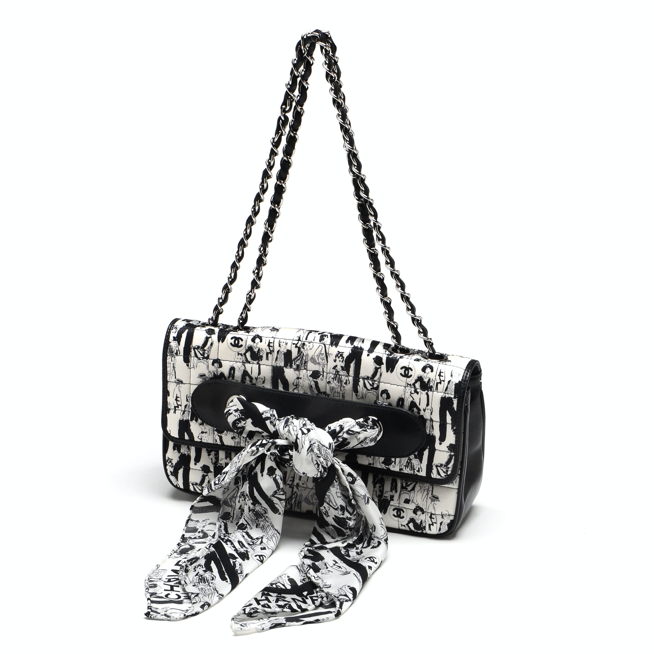 Chanel Black and White Silk Coco Mademoiselle Print Lambskin Leather Flapbag