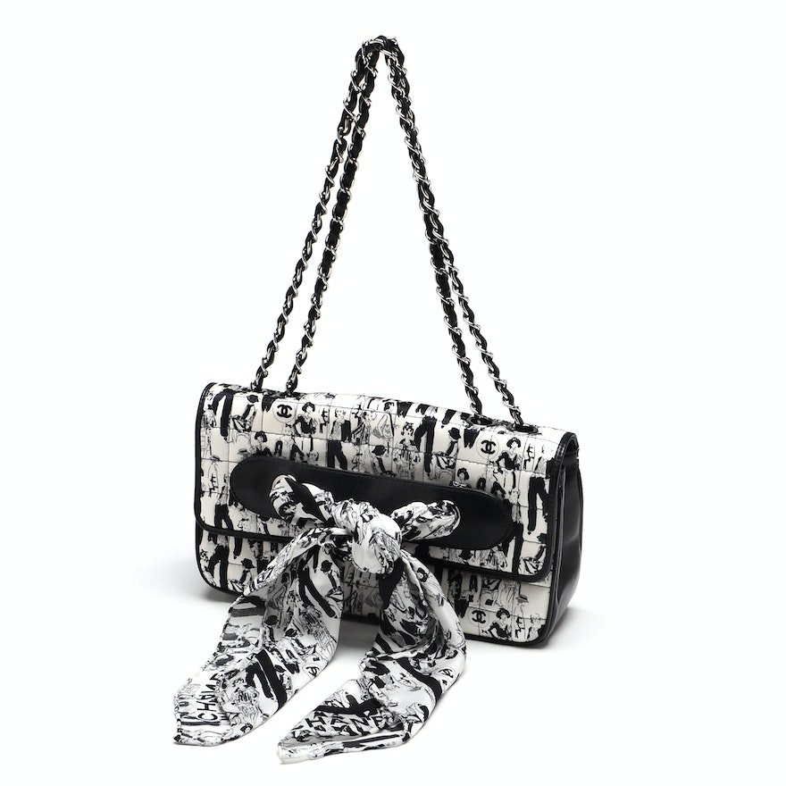 0d88b0a5de08 Chanel Black and White Silk Coco Mademoiselle Print Lambskin Leather Flapbag