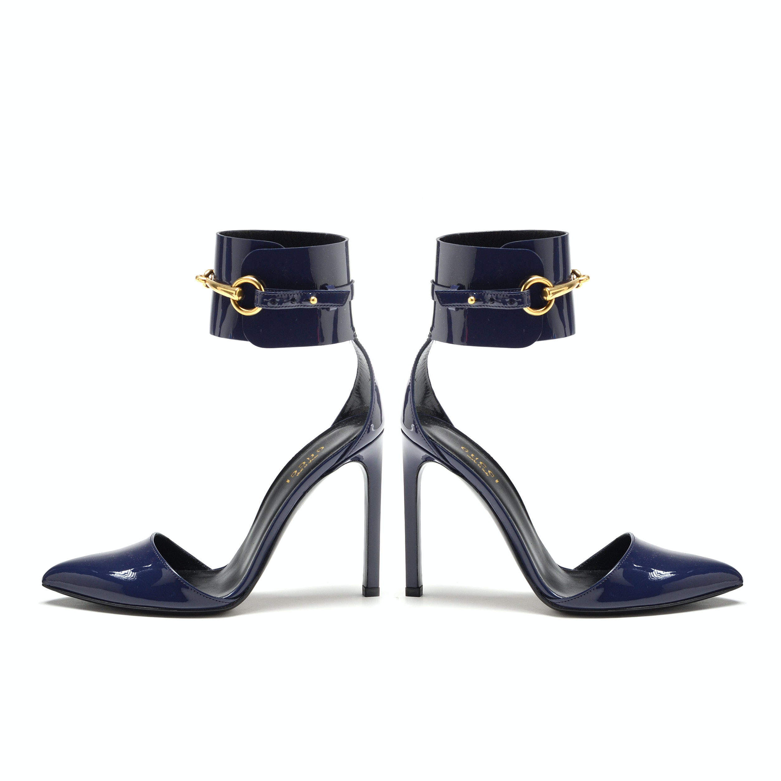 Gucci Crystal Classic Marine Blue Patent Leather Stiletto Pumps