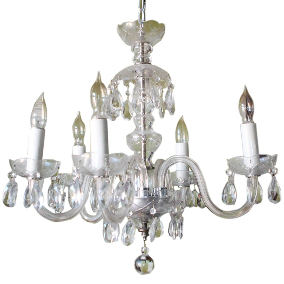 Electric Chandelier with Glass or Crystal Prisms