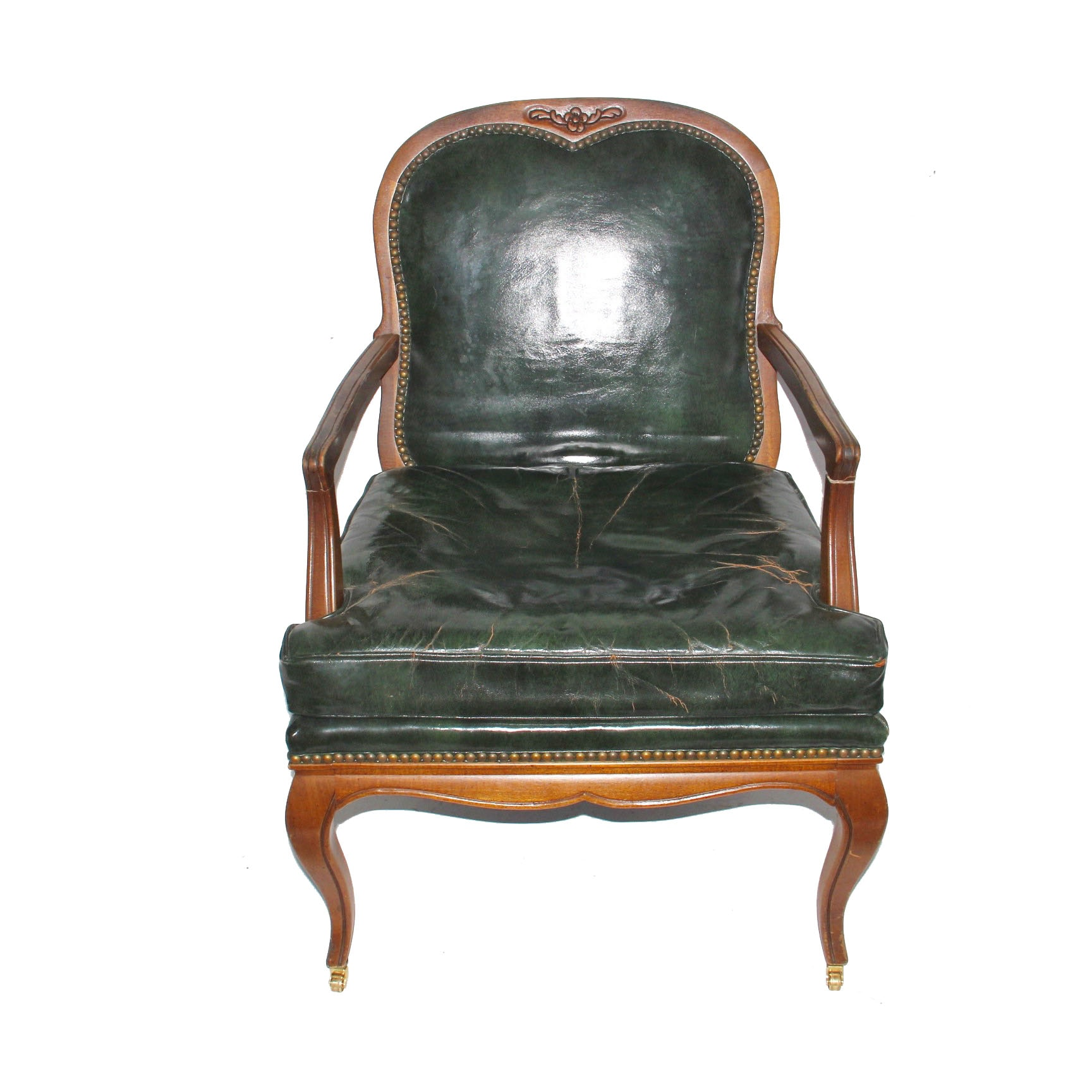 Vintage Louis XV Style Leather Armchair by Century Chair Company
