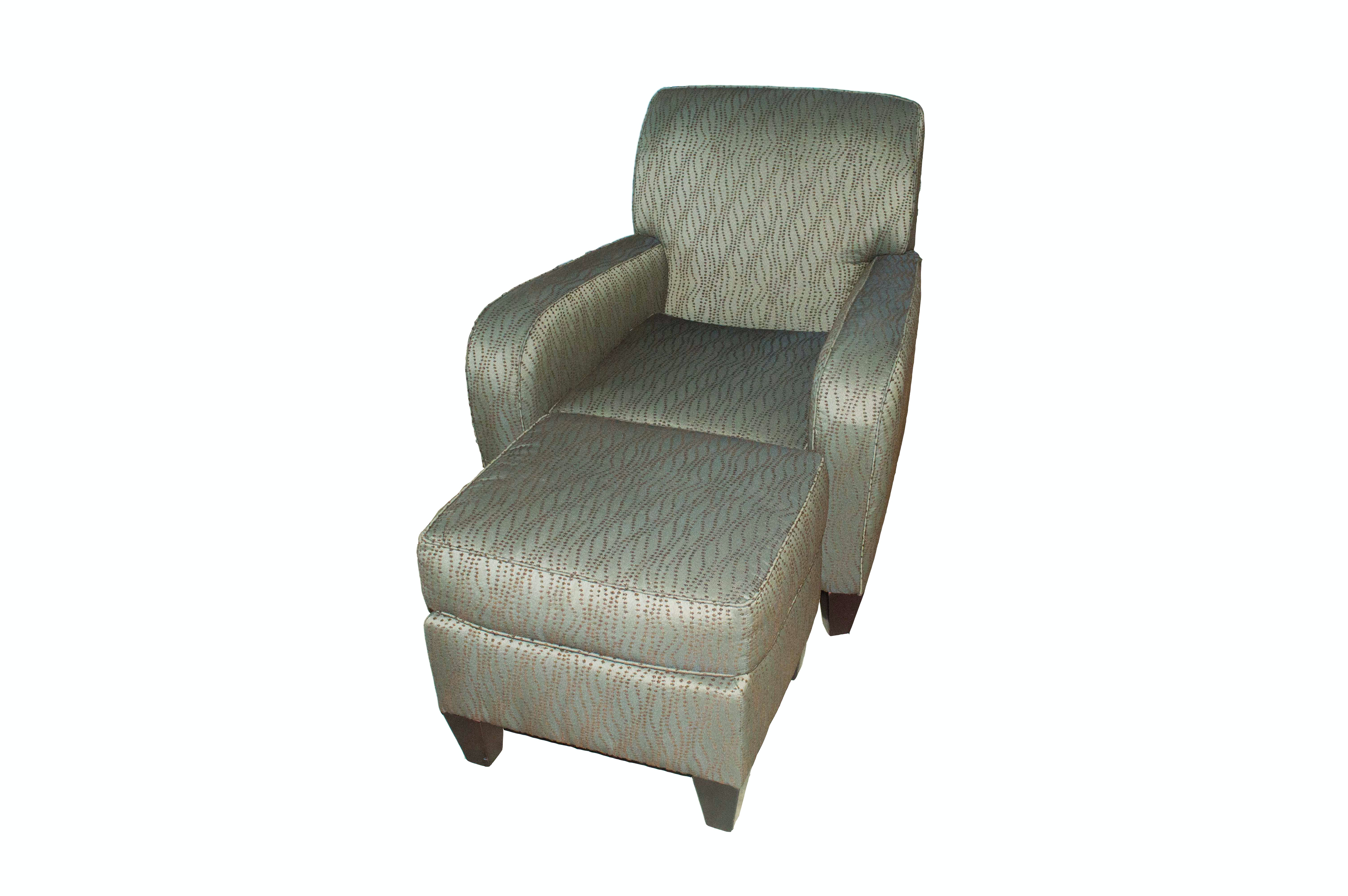 Contemporary Upholstered Club Chair with Footstool