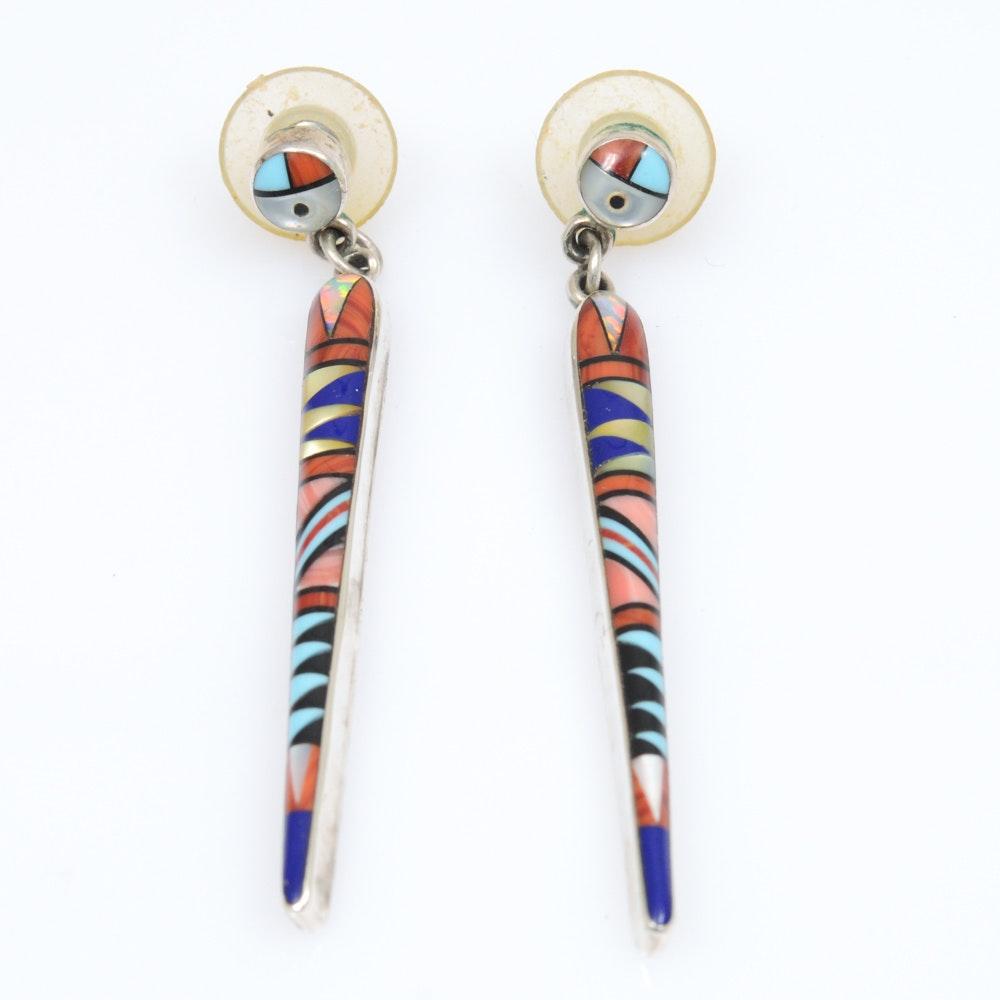 Sterling Silver James Mason Navajo Earrings with Gemstones