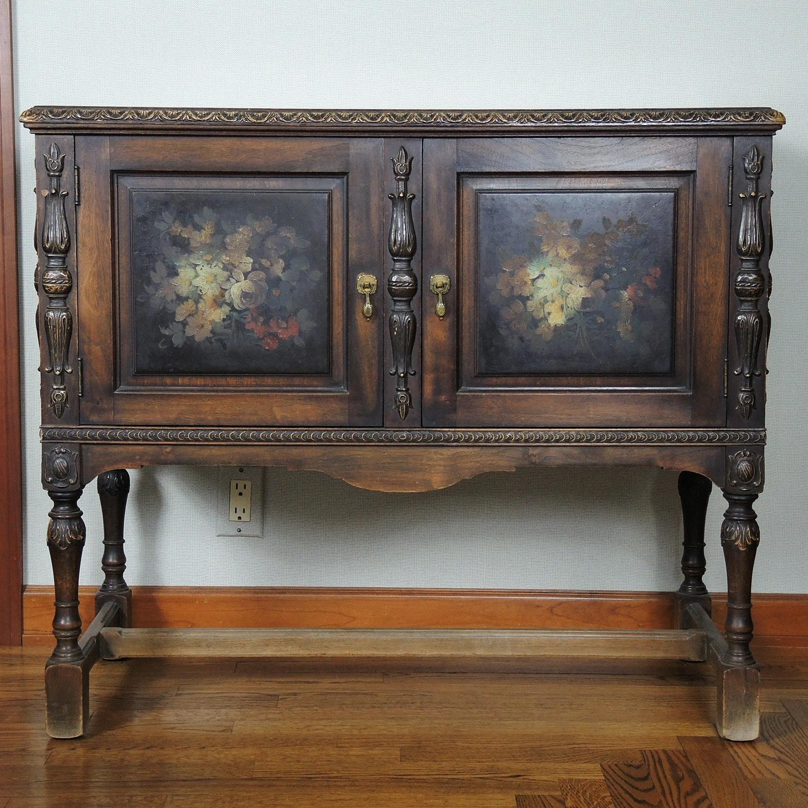 Hand Painted Antique Mahogany Server