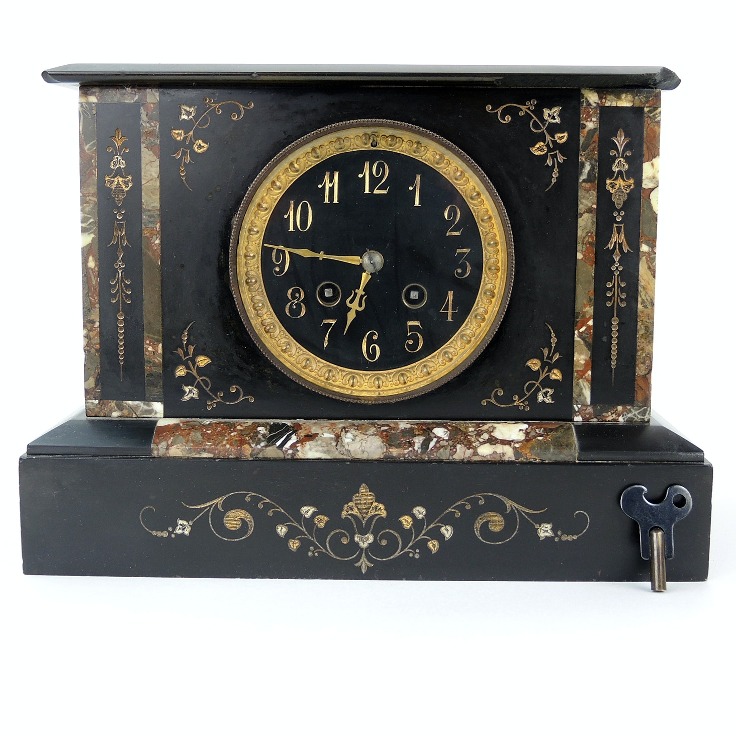 Antique Black Marble Stone Inlay Mantel Clock
