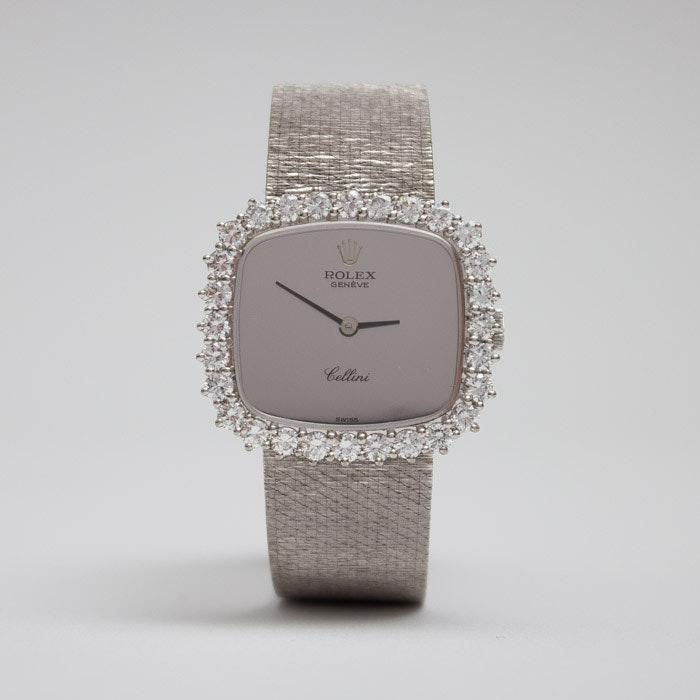 Vintage Rolex Cellini 18K Gold Diamond Wristwatch