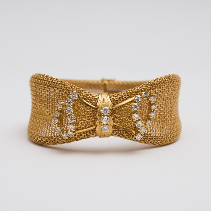 18K Gold Mesh Bracelet with Diamond Bow Detail
