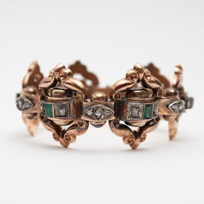 Antique 14K Rose Gold Diamond and Emerald Bracelet