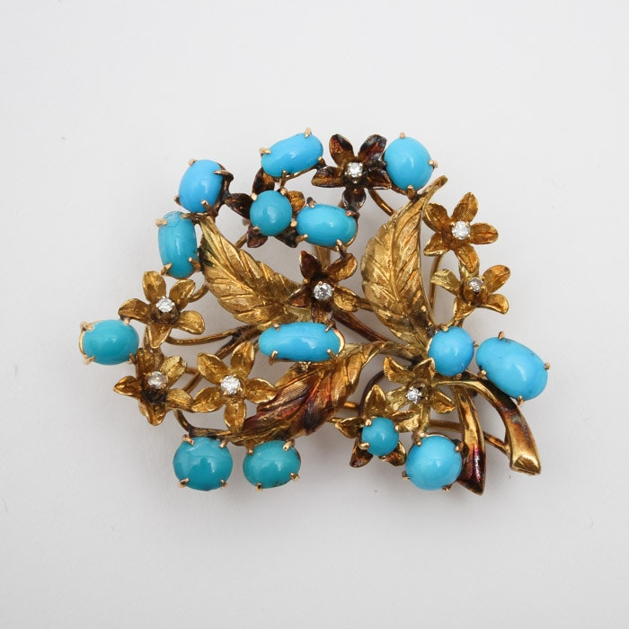 18K Gold Diamond and Turquoise Brooch