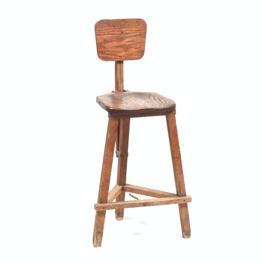 Sensational Antique Industrial Wooden Drafting Stool Caraccident5 Cool Chair Designs And Ideas Caraccident5Info