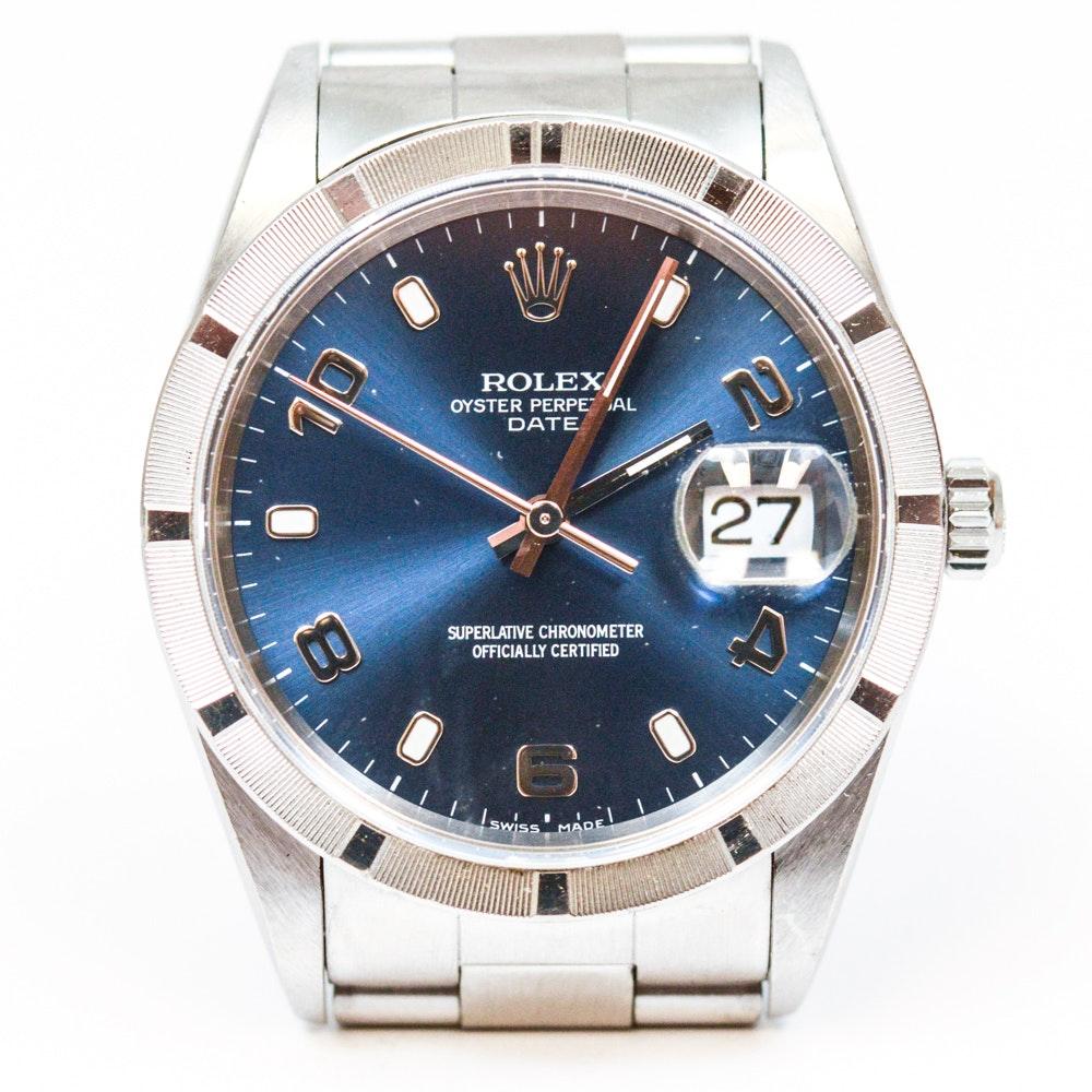 Men's Rolex Oyster Perpetual Date Blue Face